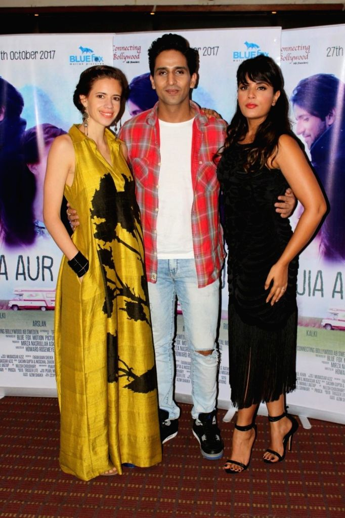 "Actors Kalki Koechlin, Arslan Goni and Richa Chadda during the promotion of their upcoming film ""Jia Aur Jia"" in Mumbai on Oct 12, 2017. - Kalki Koechlin, Arslan Goni and Richa Chadda"