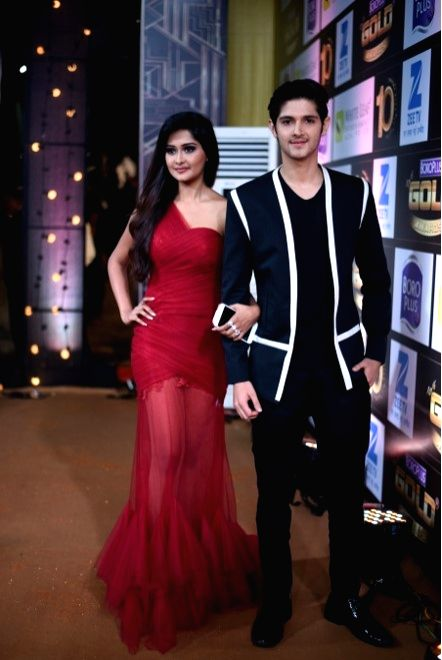 Actors  Kanchi Singh and Rohan Mehra during the 10th Gold Awards 2017 in Mumbai on July 5, 2017. - Kanchi Singh and Rohan Mehra