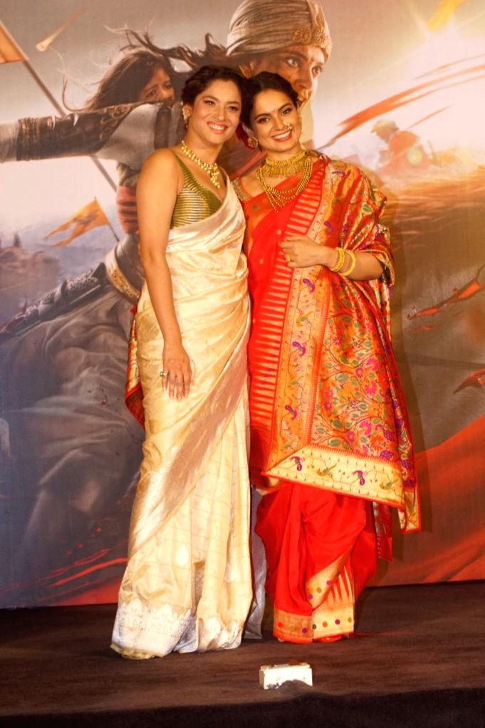 "Actors Kangana Ranaut and Ankita Lokhande at the trailer launch of their upcoming film ""Manikarnika: The Queen of Jhansi"" in Mumbai on Dec 18, 2018. - Kangana Ranaut and Ankita Lokhande"