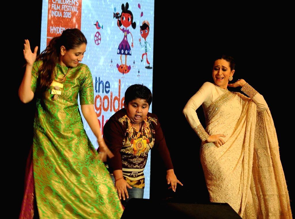 Actors Kareena Kapoor and Karisma Kapoor during the 19th The Golden Elephant International Children`s Film Festival (ICFFI) in Hyderabad on November 15, 2015. - Kareena Kapoor and Karisma Kapoor