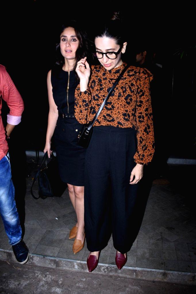 Actors Kareena Kapoor and Karisma Kapoor seen at Bandra, in Mumbai on Oct 10, 2019. - Kareena Kapoor and Karisma Kapoor
