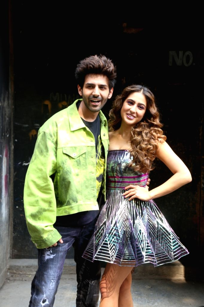 "Actors Kartik Aaryan and Sara Ali Khan on the set of ""Dance Plus 5"", in Mumbai on Feb 10, 2020. - Kartik Aaryan and Sara Ali Khan"