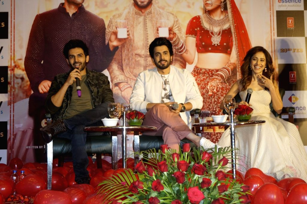 Actors Kartik Aaryan, Sunny Nijar and Nushrat Bharucha during a press conference ahead of their upcoming film 'Sonu Ke Titu Ki Sweety' in New Delhi on Feb 14, 2018. - Kartik Aaryan, Sunny Nijar and Nushrat Bharucha
