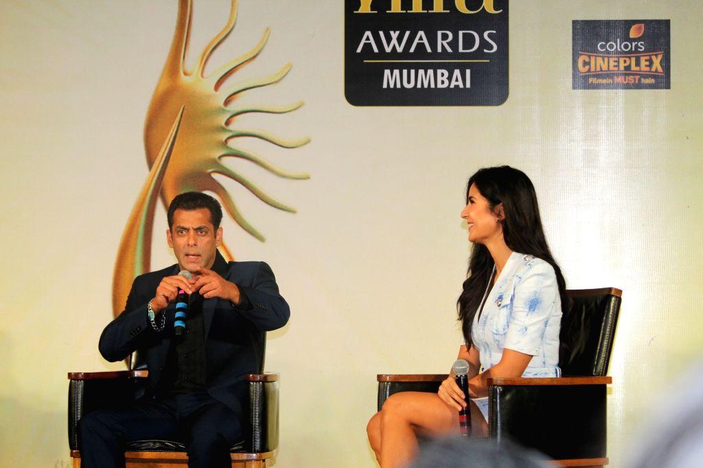 Actors Katrina Kaif and Salman Khan at the Indian International Film Awards (IIFA) 2019 press conference in Mumbai, on Sep 5, 2019. - Katrina Kaif and Salman Khan