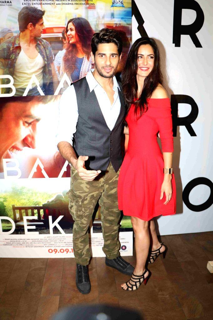 Actors Katrina Kaif and Sidharth Malhotra during the trailer launch of film Baar Baar Dekho in Mumbai, on Aug 2, 2016. - Katrina Kaif and Sidharth Malhotra