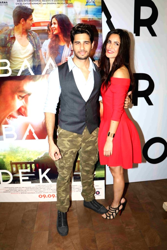 Actors Katrina Kaif and Sidharth Malhotra during the trailer launch of film Baar Baar Dekho in Mumbai, on Aug 2, 2016. - Katrina Kaif and Sidharth Malhotra