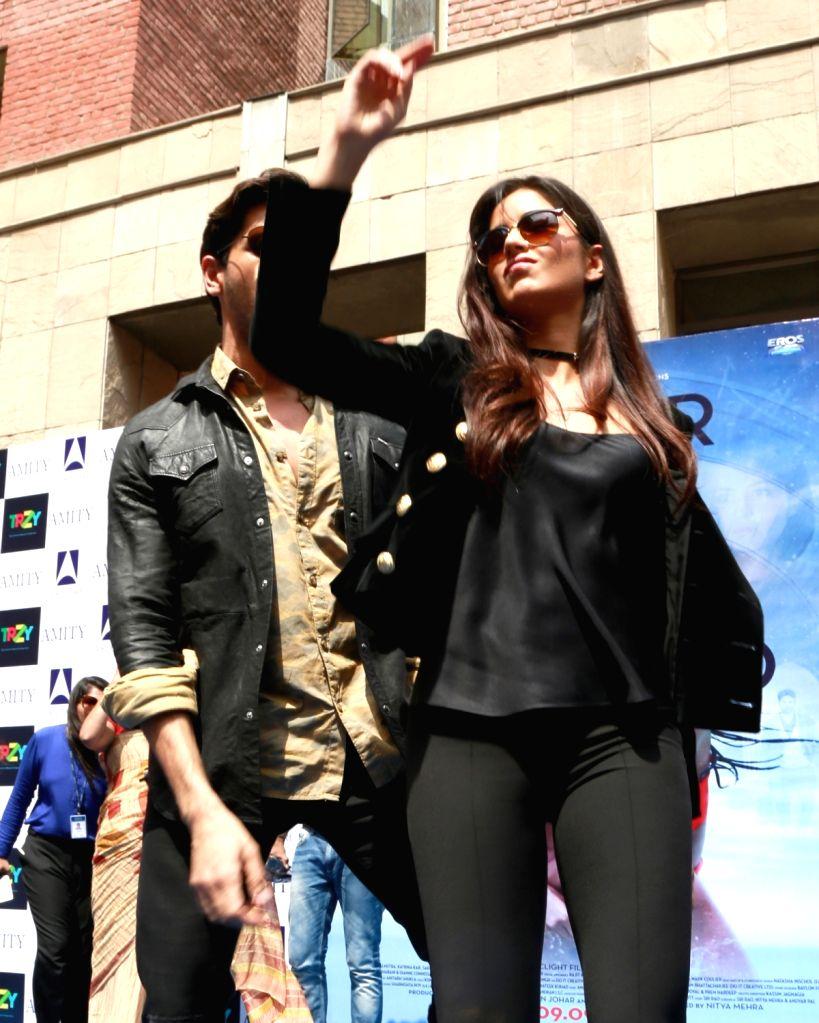 "Actors Katrina Kaif and Sidharth Malhotra during the promotion of their upcoming flim ""Baar Baar Dekho"" at Amity University in Noida on Sept 8, 2016. - Katrina Kaif and Sidharth Malhotra"