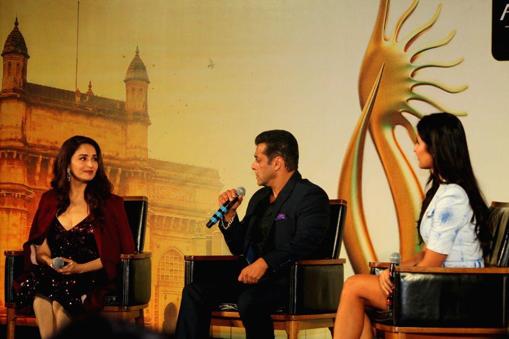 Actors Katrina Kaif, Madhuri Dixit and Salman Khan at the Indian International Film Awards (IIFA) 2019 press conference in Mumbai, on Sep 5, 2019. - Katrina Kaif, Madhuri Dixit and Salman Khan