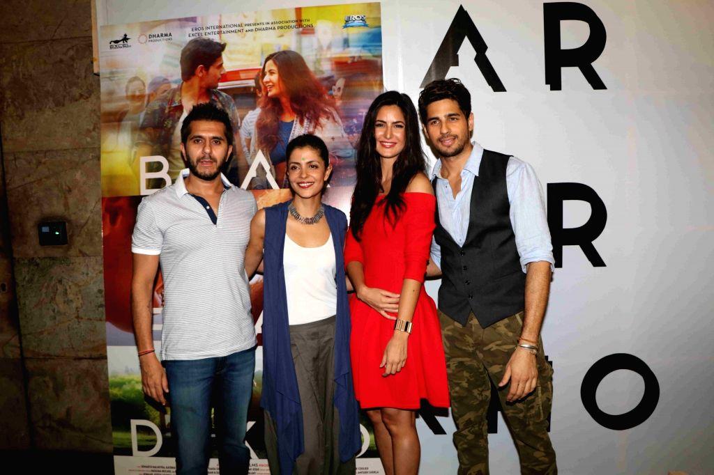 Actors Katrina Kaif, Sidharth Malhotra and filmmakers Ritesh Sidhwani and Nitya Mehra during the trailer launch of film Baar Baar Dekho in Mumbai, on Aug 2, 2016. - Katrina Kaif and Sidharth Malhotra