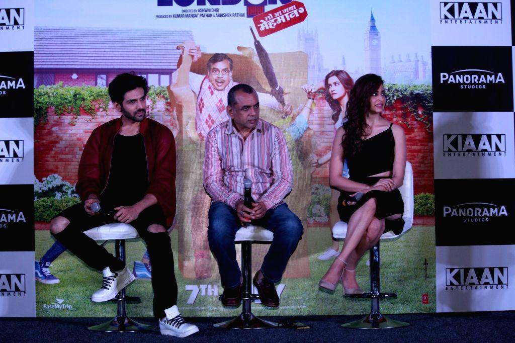 "Actors Kriti Kharbanda, Kartik Aaryan and Paresh Rawal during a press conference regarding his upcoming film ""Guest Iin London"" in Mumbai on July 3, 2017. - Kriti Kharbanda, Kartik Aaryan and Paresh Rawal"