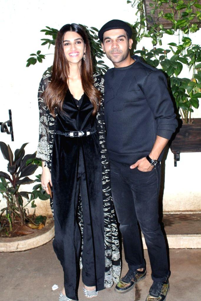 "Actors Kriti Sanon and Rajkummar Rao during the special screening of their upcoming film ""Bareilly Ki Barfi"" in Mumbai on Aug 16, 2017. - Kriti Sanon and Rajkummar Rao"