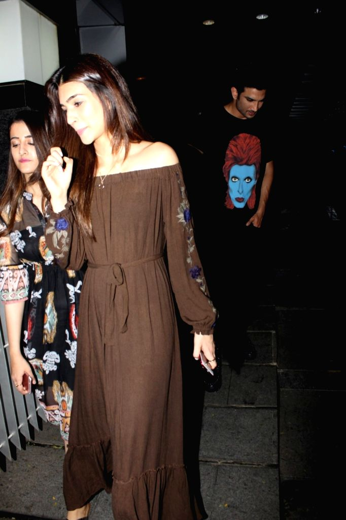 Actors Kriti Sanon and Sushant Singh Rajput spotted outside a restaurant, in Mumbai on July 3, 2017. - Kriti Sanon and Sushant Singh Rajput