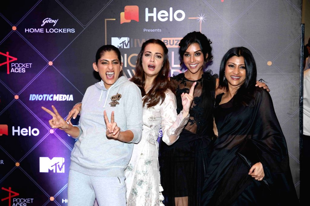 Actors Kubbra Sait, Dia Mirza and Konkona Sen at the Red Carpet of MTV - IWMBuzz Digital Awards 2019 in Mumbai on Nov 13, 2019. - Kubbra Sait, Dia Mirza and Konkona Sen