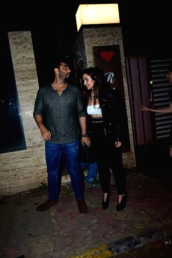 Actors Malaika Arora and Arjun Kapoor at sports agent Bunty Sajdeh's party in Mumbai on March 13, 2020. - Malaika Arora and Arjun Kapoor