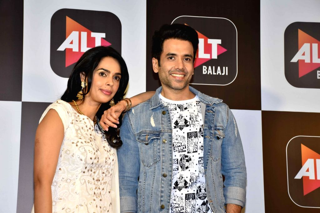 "Actors Mallika Sherawat and Tusshar Kapoor at the launch of their upcoming horror comedy web series ""Booo – Sabki Phategi"" in Mumbai, on Feb 4, 2019. - Mallika Sherawat and Tusshar Kapoor"