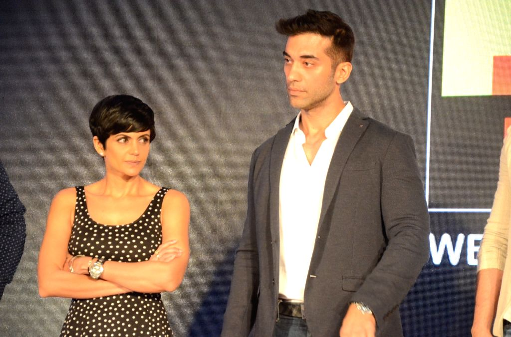 Actors Mandira Bedi and Kushaal Punjabi during a press conference of short film 'The Gift' in Mumbai on June 22, 2017. - Mandira Bedi and Kushaal Punjabi