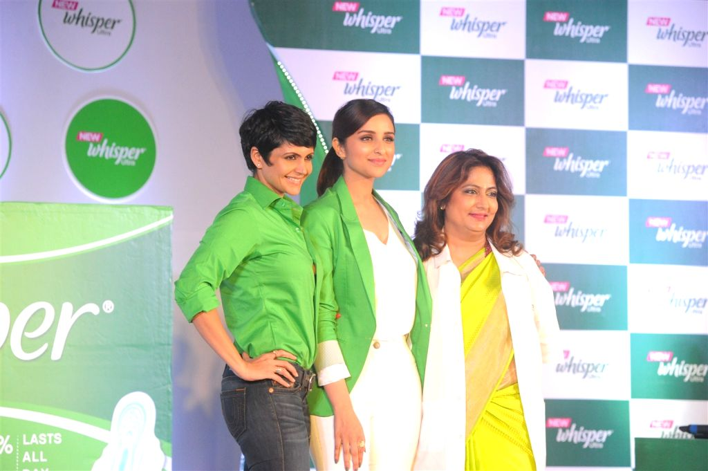 Actors Mandira Bedi, Parineeti Chopra and Dr. Nandita Palshetkar, IVF specialists during the launch of the New Whisper Ultra in Mumbai on Jan13, 2016. - Mandira Bedi and Parineeti Chopra
