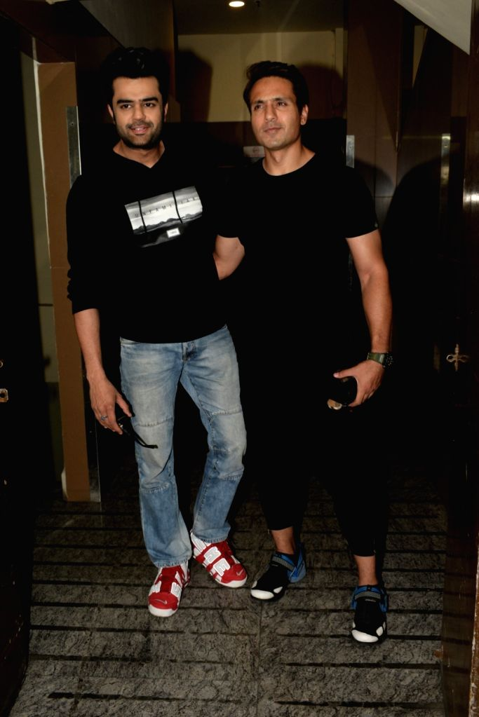 Actors Manish Paul and Iqbal Khan seen in Mumbai's Juhu, on April 9, 2019. - Manish Paul and Iqbal Khan