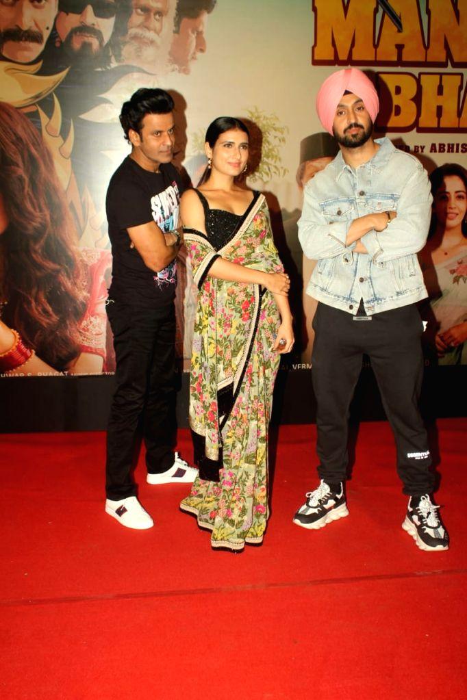 "Actors Manoj Bajpai, Fatima Sana Shaikh and Diljit Dosanjh at the special screening of their upcoming film ""Suraj Pe Mangal Bhari"" at Andheri in Mumbai on Nov 12, 2020. - Manoj Bajpai, Fatima Sana Shaikh and Diljit Dosanjh"