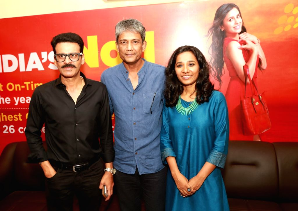 Actors Manoj Bajpayee, Adil Hussain and Tannishtha Chatterjee at Jagran Film Festival in New Delhi, on July 2, 2017. - Manoj Bajpayee, Adil Hussain and Tannishtha Chatterjee
