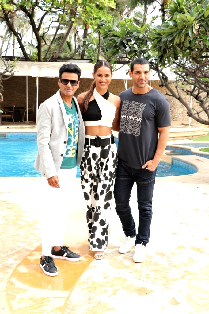 "Actors Manoj Bajpayee, Aisha Sharma and John Abraham during the promotion of their upcoming film ""Satyameva Jayate"" in Mumbai on Aug 3, 2018. - Manoj Bajpayee, Aisha Sharma and John Abraham"