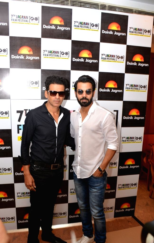 Actors Manoj Bajpayee and Rajkummar Rao during the 7th Jagran Film Festival in New Delhi on July 3, 2016. - Manoj Bajpayee and Rajkummar Rao