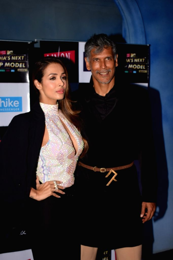 "Actors Milind Soman and Malaika Arora Khan on the set of ""India's Next Top Model"" Season 3  in Mumbai on Oct 10, 2017. - Milind Soman and Malaika Arora Khan"