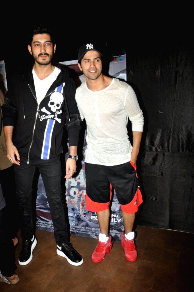 "Actors Mohit Marwah and Varun Dhawan during the special screening of upcoming film ""Raag Desh"" in Mumbai on August 01, 2017. - Mohit Marwah and Varun Dhawan"