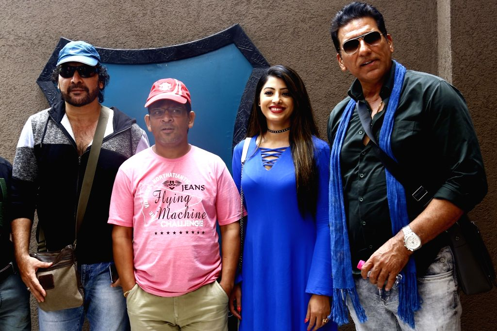 "Actors Mukesh Rishi, Sanchita banerjee and Shahbaz Khan during a press conference to promote their upcoming film ""Raktdhar"" in Jaipur on Sept 17, 2017. - Mukesh Rishi, Sanchita and Shahbaz Khan"