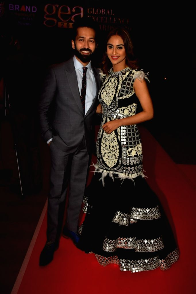 """Actors Nakuul Mehta and Krystle D'Souza at """"Global Excellence Awards 2019"""" in Mumbai on Oct 12, 2019. - Nakuul Mehta and Krystle D"""
