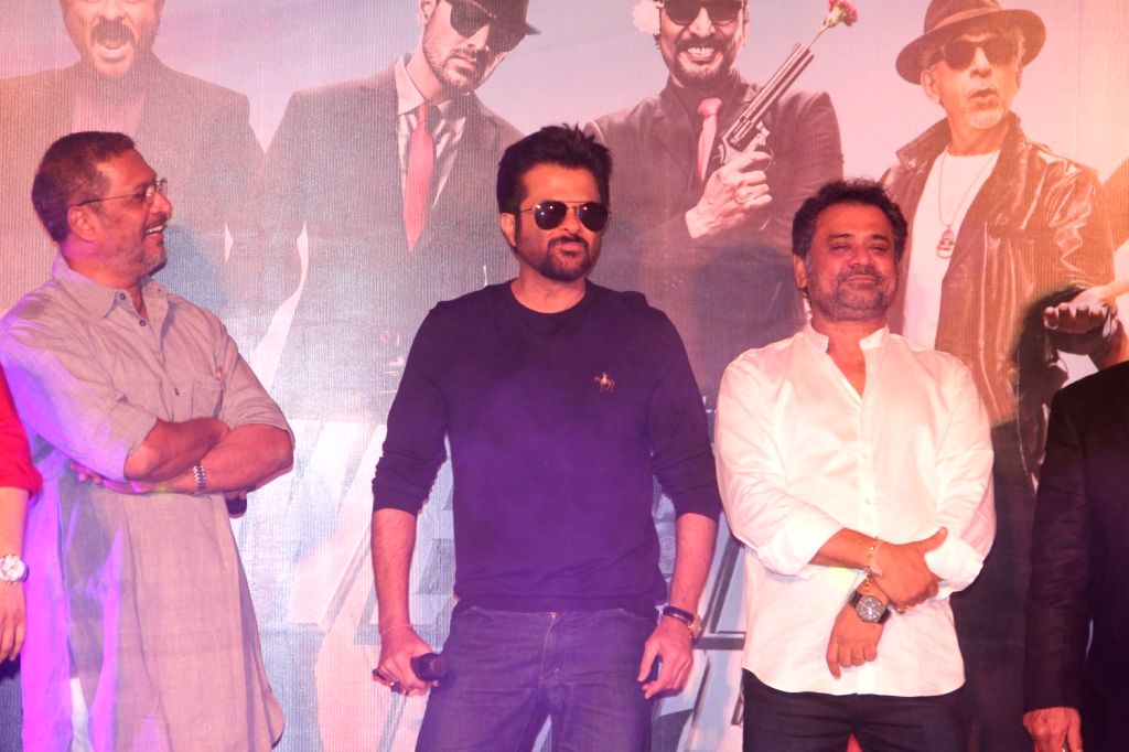 Actors Nana Patekar and Anil Kapoor with filmmaker Anees Bazmee during the launch of title track song of film Welcome Back in Mumbai on Aug 8, 2015. - Nana Patekar and Anil Kapoor