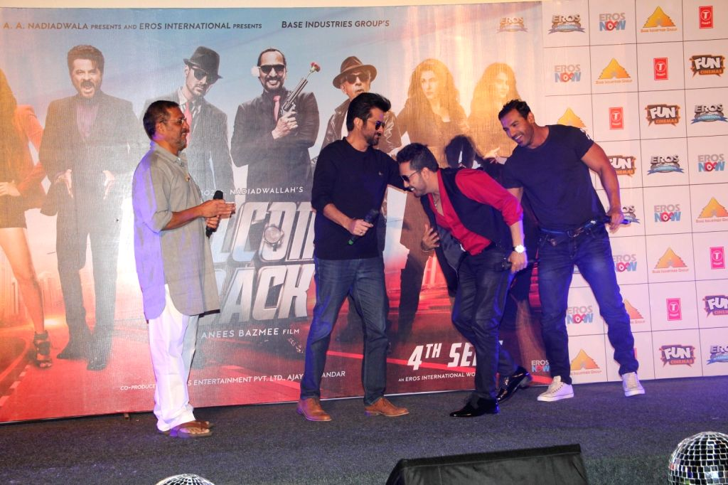 Actors Nana Patekar, Anil Kapoor, John Abraham and singer Mika Singh during the launch of title track song of film Welcome Back in Mumbai on Aug 8, 2015. - Nana Patekar, Anil Kapoor, John Abraham and Mika Singh