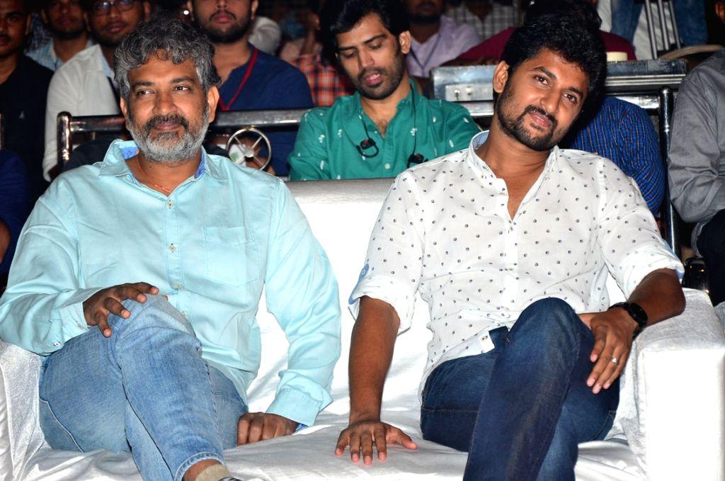 "Actors Nani and Rajamouli during the pre release function of Telugu movie ""Ninnu Kori"" in Hyderabad. - Nani and Rajamouli"