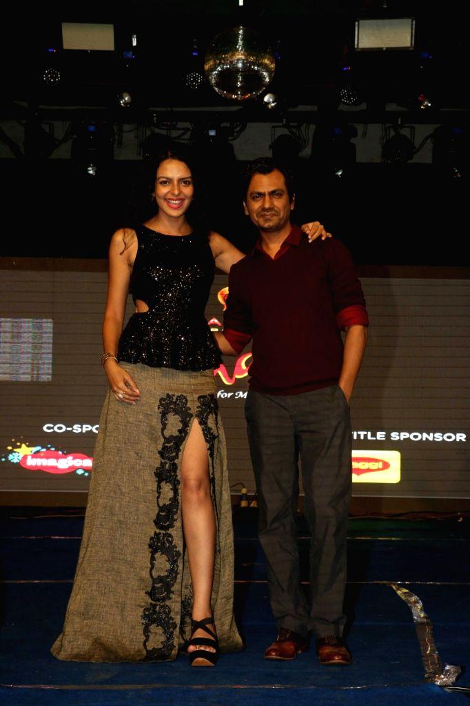 "Actors Nawazuddin Siddiqui and Bidita Bag during the promotion of film ""Babumoshai Bandookbaaz"" at Umang Festival in Mumbai on Aug 14, 2017. - Nawazuddin Siddiqui and Bidita Bag"