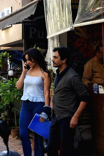 Actors Nawazuddin Siddiqui and Neha Sharma seen at Versova in Mumbai on March 16, 2020. - Nawazuddin Siddiqui and Neha Sharma