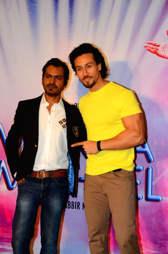 """Actors Nawazuddin Siddiqui and Tiger Shroff during the song launch """"Swag"""" from their upcoming film """"Munna Michael"""" in Mumbai, on July 5, 2017. - Nawazuddin Siddiqui and Tiger Shroff"""