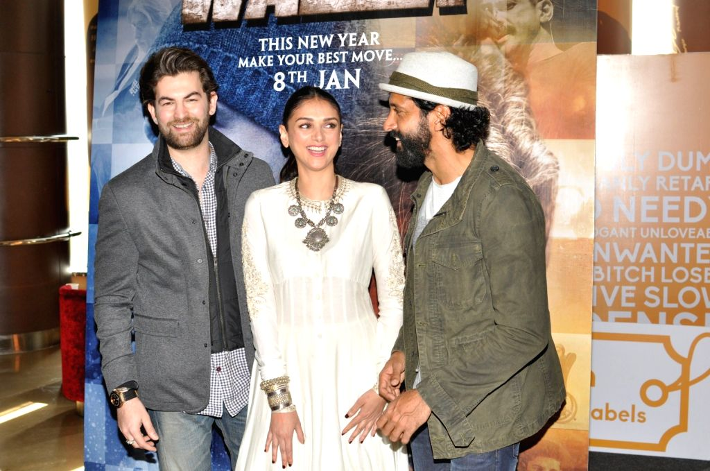 Actors Neil Nitin Mukesh Aditi Rao Hydari and Farhan Akhtar during the trailer launch of film Wazir in Mumbai on Nov 18, 2015. - Neil Nitin Mukesh Aditi Rao Hydari and Farhan Akhtar
