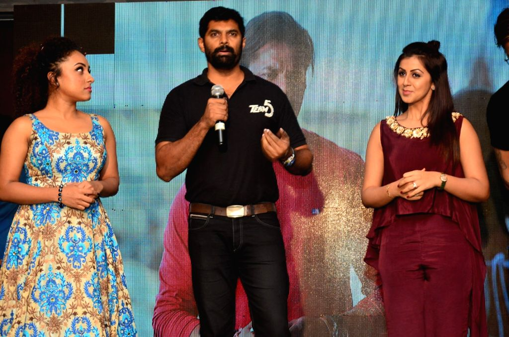 """Actors Nikki Galrani, S. Sreesanth and Pearly Maaney during the trailer launch of their upcoming Malayalam film """"Team 5"""". - Nikki Galrani, S. Sreesanth and Pearly Maaney"""