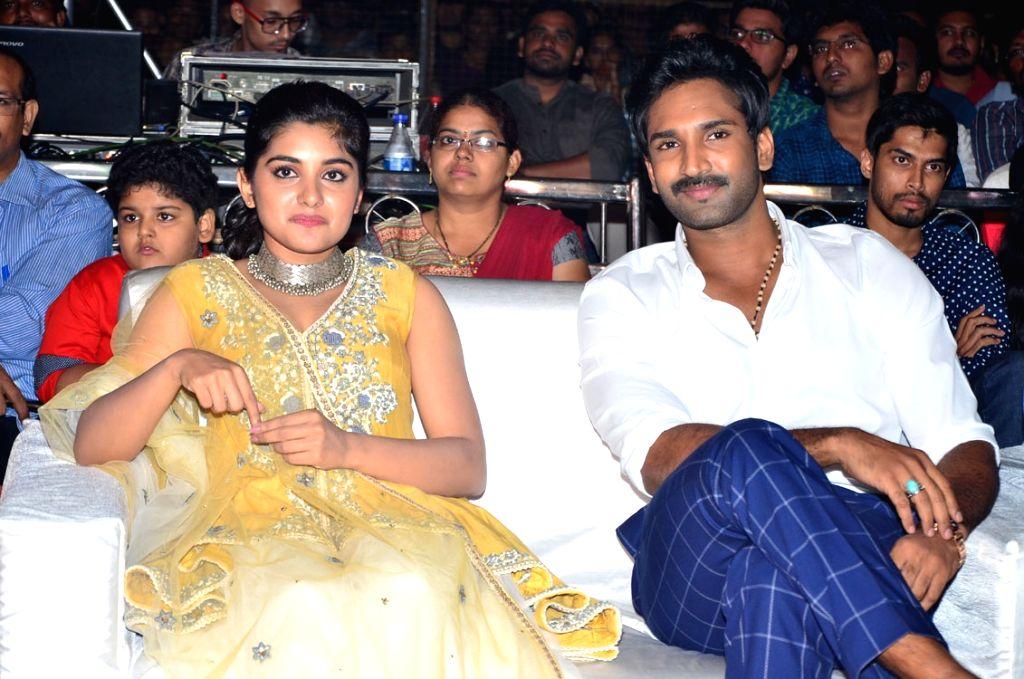 """Actors Niveda Thomas and Aadi during the pre release function of Telugu movie """"Ninnu Kori"""" in Hyderabad. - Niveda Thomas and Aadi"""