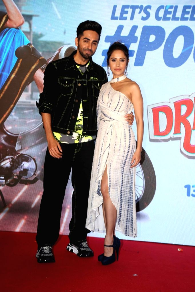 "Actors Nushrat Barucha and Ayusmann Khurrana during promotions of movie ""Dream Girl"" in Mumbai on Sep 7, 2019. - Nushrat Barucha and Ayusmann Khurrana"