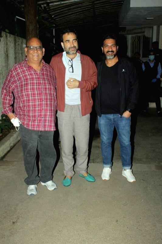 Actors Pankaj Tripathi & Satish Kaushik at the special screening of their upcoming film 'Kaagaz', in Mumbai on Jan 6, 2021. - Pankaj Tripathi