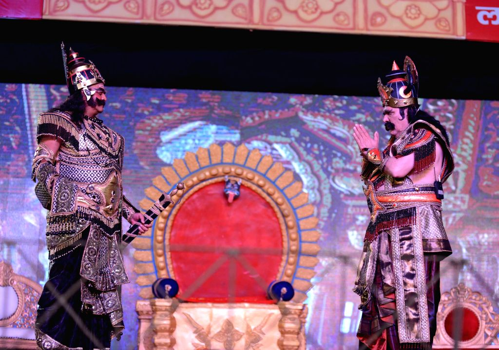 Actors perform at the Lav Kush Ramlila, Red Fort in New Delhi, on Oct 21, 2015.