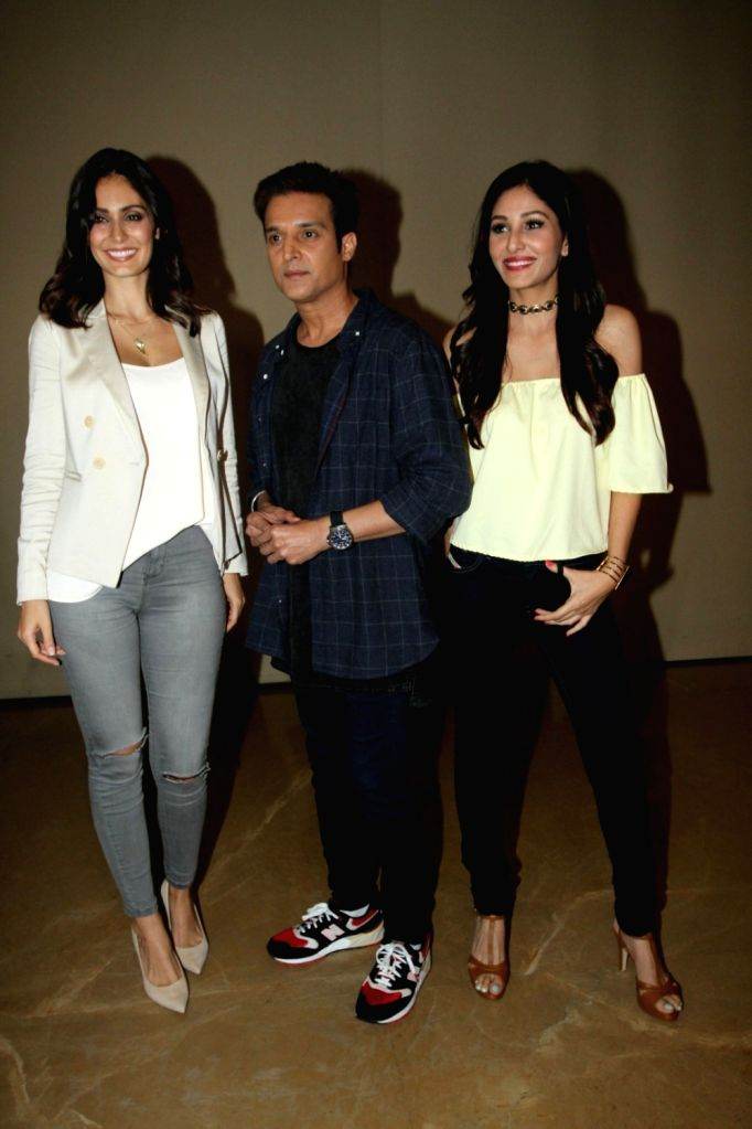 Actors Pooja Chopra, Jimmy Shergill and Bruna Abdullah during the music launch of film Yea Toh Two Much Ho Gayaa in Mumbai, on August 6, 2016. - Pooja Chopra, Jimmy Shergill and Bruna Abdullah