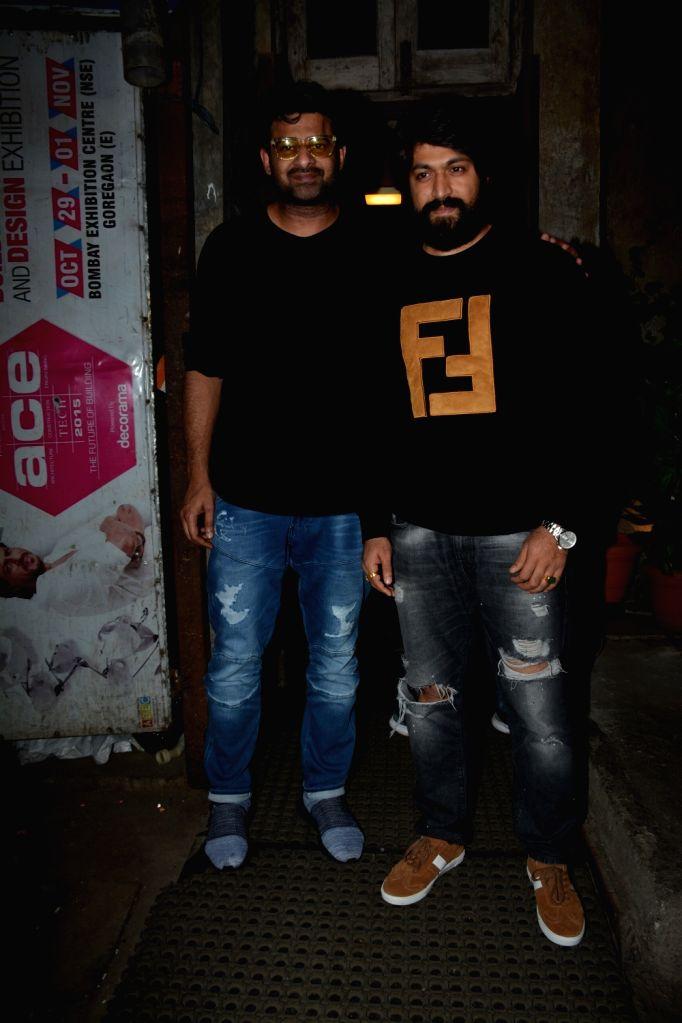 Actors Prabhas and Yash seen at Mumbai's Bandra, on Dec 7, 2018. - Prabhas and Yash