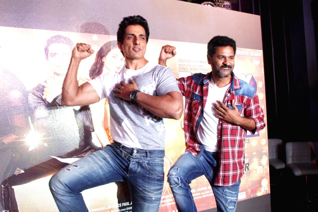 Actors Prabhu Deva and Sonu Sood during the song preview of Tutak Tutak Tutiya in Mumbai on Sept 19, 2016. - Prabhu Deva and Sonu Sood