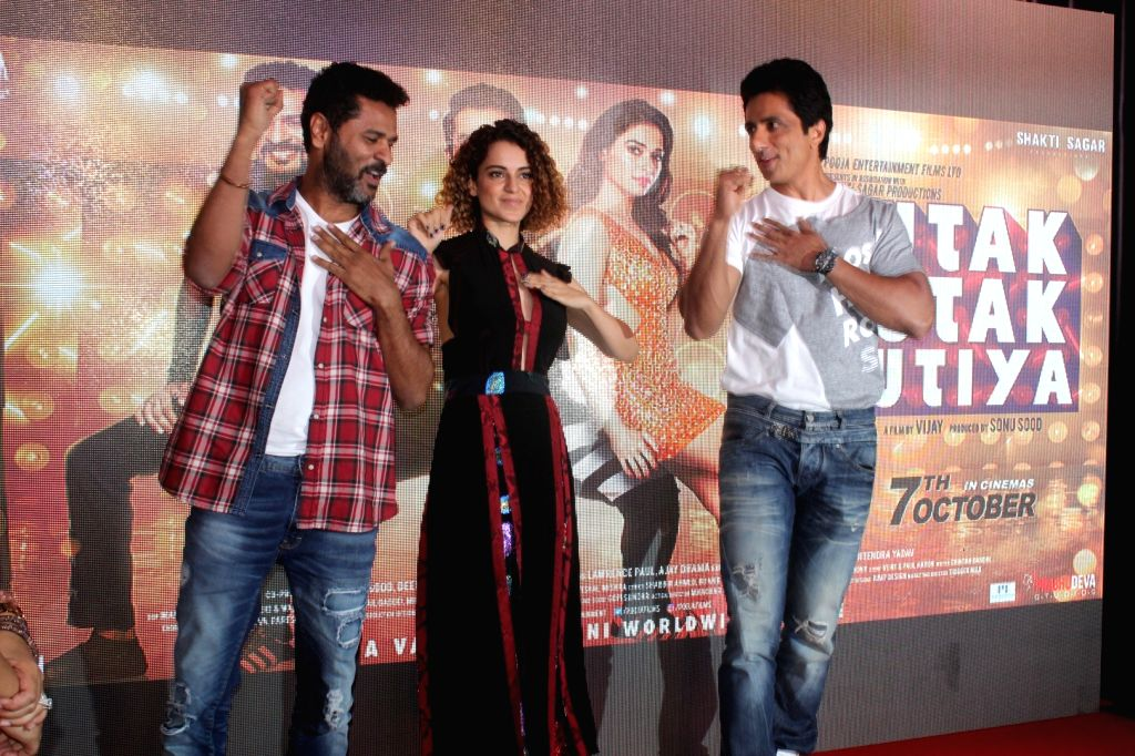 Actors Prabhu Deva, Kangana Ranaut and Sonu Sood during the song preview of Tutak Tutak Tutiya in Mumbai on Sept 19, 2016. - Prabhu Deva, Kangana Ranaut and Sonu Sood