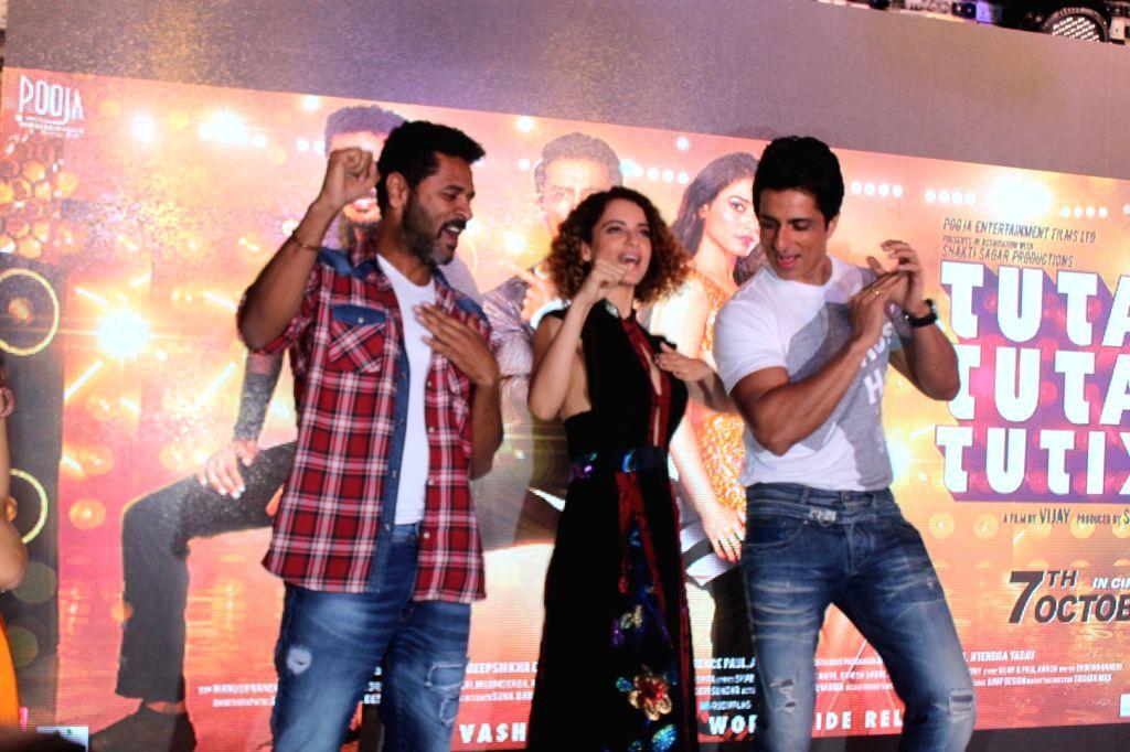Actors Prabhu Deva, Kangana Ranaut and Sonu Sood during the song preview of Tutak Tutak Tutiya in Mumbai on Sept 19, 2016. - Prabhu Deva, Kangana Ranaut and Sonu Sood