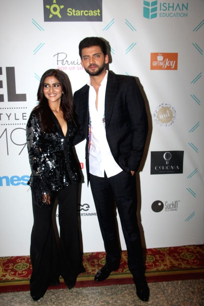 "Actors Pranutan Bahl and Zaheer Iqbal at ""Tassel Awards 2019"", in Mumbai, on June 1, 2019. - Pranutan Bahl and Zaheer Iqbal"