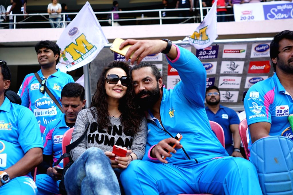 Actors Preity Zinta and Bobby Deol during the Celebrity Cricket League (CCL) match played between Mumbai Heroes vs Punjab De Sher in Bengaluru on Jan 23, 2016. - Preity Zinta and Bobby Deol