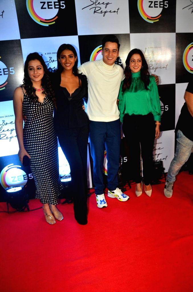 "Actors Priyal Gor, Teena Singh, Anshuman Malhotra and Raima Sen at the launch of their web series ""Love, Sleep, Repeat"" in Mumbai on Nov 5, 2019. - Priyal Gor, Teena Singh, Anshuman Malhotra and Raima Sen"